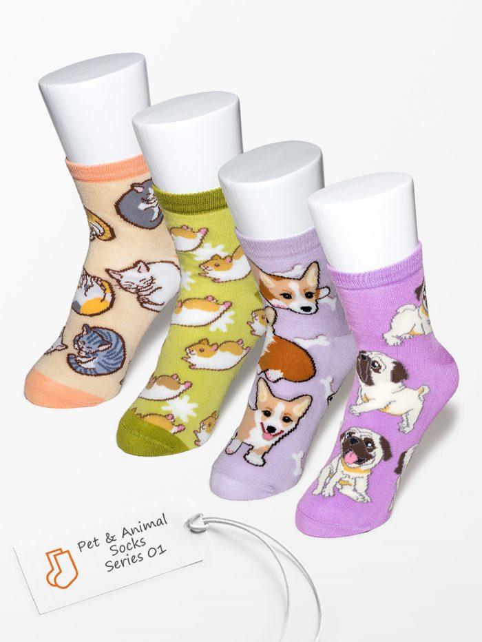 ペットラバーズ商品紹介、一日うきうきするパグ、コーギー、ハムスター、猫の靴下